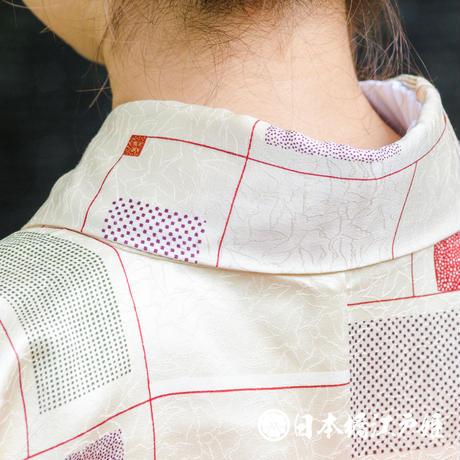 0333 小紋 Aランク美品 正絹 袷 クリーム 幾何学 身丈162.5cm