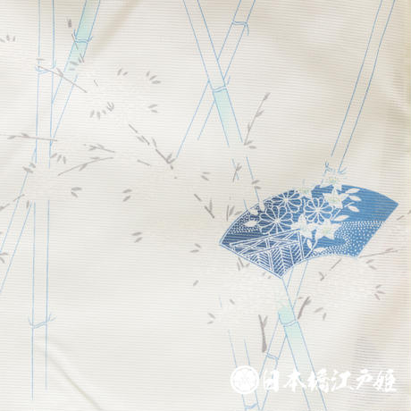 0257 夏物 小紋 薄物 絽 化繊 クリーム色 扇面 草花 竹 身丈156.55cm
