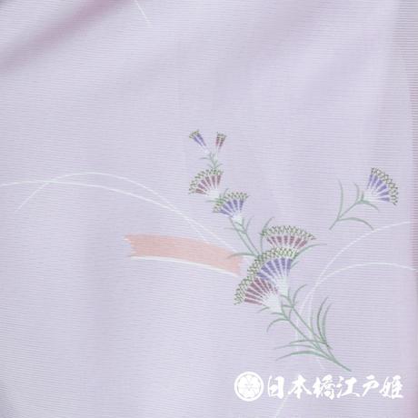 0239 夏物 小紋 薄物 絽 化繊 薄紫 草花 身丈162cm