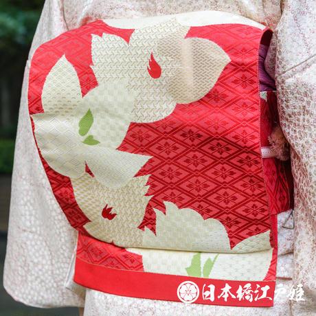 0338 名古屋帯 Aランク美品 正絹 赤 花菱文 有職紋様 金糸 六通し 帯丈351cm