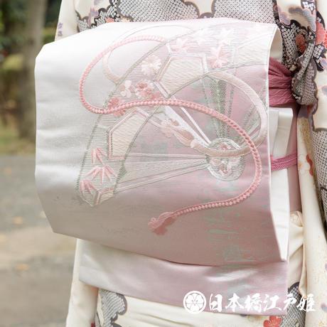 0378 名古屋帯 優品 Aランク美品 正絹 ピンク 御所車 組紐 刺繍 銀通し 六通し 帯丈356cm