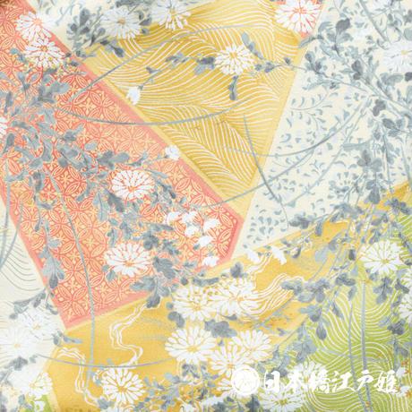 0496 小紋 Aランク美品 正絹 袷 鶯色 菊 切嵌 七宝 身丈156cm