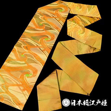 0145 名古屋帯 Aランク美品 正絹 黄土色 幾何学 帯丈353cm