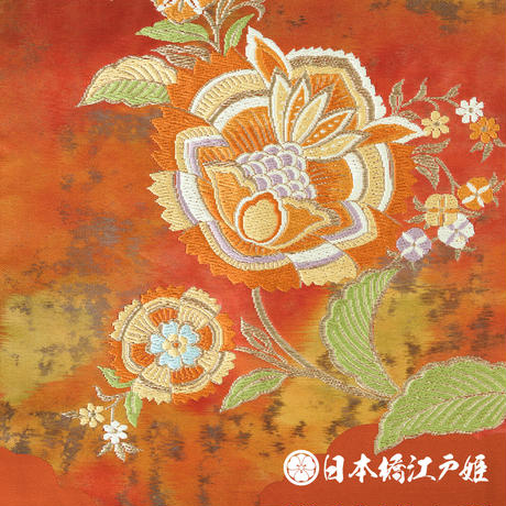 0158 名古屋帯 Aランク美品 正絹 橙色 草花 お太鼓柄 帯丈351cm