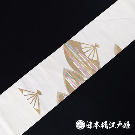 0153 名古屋帯 Aランク美品 正絹 白 扇 お太鼓柄 帯丈357cm