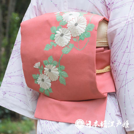 0256 夏物 名古屋帯 優品 正絹 ピンク 草花 菊 銀糸 刺繍 お太鼓柄 帯丈355,5cm