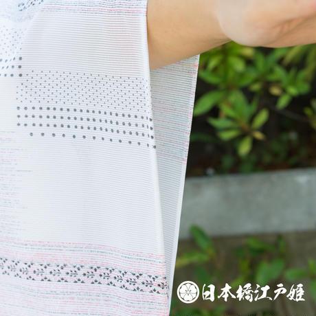 0202 夏物 小紋 Aランク美品 薄物 絽 化繊 幾何学 身丈156cm