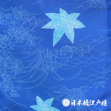 0192 夏物 小紋 Aランク美品 薄物 絽 化繊 青 楓 身丈153cm