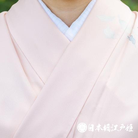 0318 訪問着 袷 正絹 薄ピンク 孔雀 身丈156cm