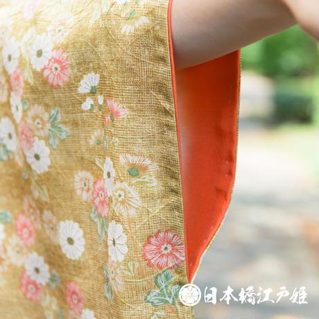 0294 小紋 名品 Aランク美品 正絹 袷 黄土色 菊 ぼかし 地紋 芝 身丈154cm