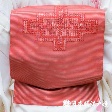 0277 夏物 名古屋帯 Aランク美品 正絹 絽 赤 幾何学 刺繍 お太鼓柄 帯丈368cm
