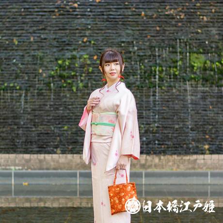 0347 小紋 Aランク美品 正絹 袷 ピンク 草花 紅葉 身丈152cm