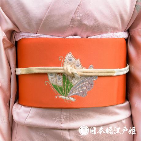 0315 名古屋帯 正絹 オレンジ 蝶 金糸 銀糸 唐織 六通し 帯丈349cm