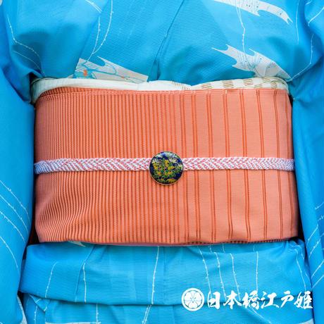 0248 夏物 名古屋帯 優品 薄物 正絹 オレンジ 縞文 帯丈359.5cm