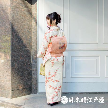 0367 小紋 Aランク美品 正絹 袷 クリーム色 枝梅 菊 身丈153cm