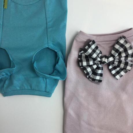 フリル袖Tシャツ ギンガムリボン 4号~5号