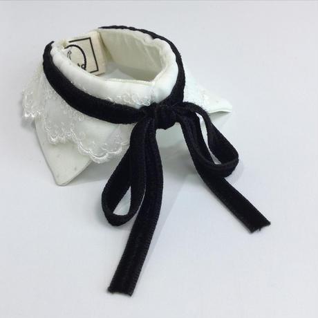 付け襟 サテンレース黒リボン