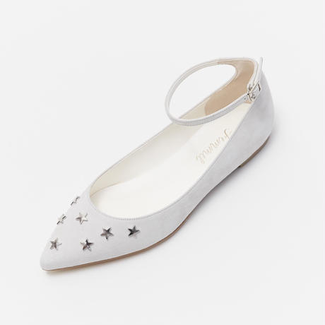 STAR MOTIF POINTED ANKLE STRAP SHOES - IVORY