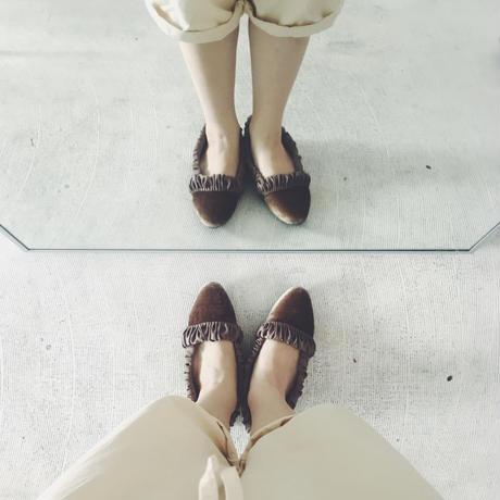 F- TROUPE  velvet slip-on shoes