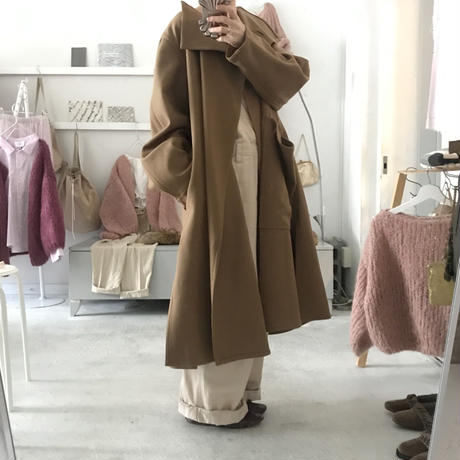 Dahlia big pocket wool long coat