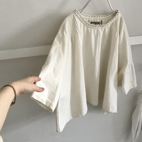 pompon cotton écru  blouse
