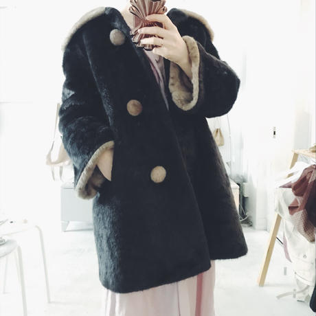 used fake fur 2 tone coat