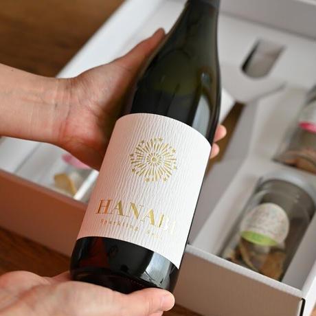 【ギフトBOX入り】甘いスパークリング日本酒(HANABI) x ぽんしゅグリアギフトBOX(720ml日本酒1本+ぽんしゅグリア4本)