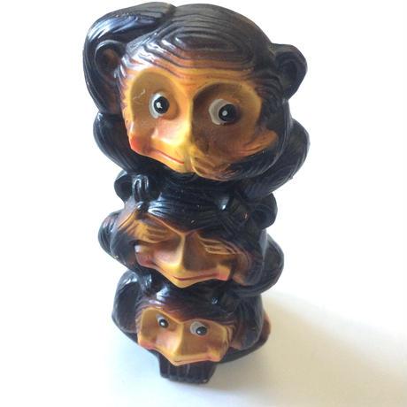 三猿 陶器置物(貯金箱)