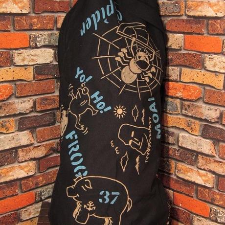ロスコ ミリタリー ダッフルバッグ ブラック 手描き クモ 猿 モグラ コットン 松岡佳博