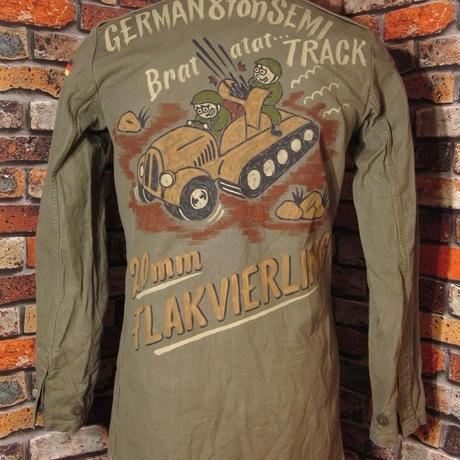 ドイツ軍 モルスキンジャケット 丈長めMサイズ38 手描き ミリタリーシャツ コットン