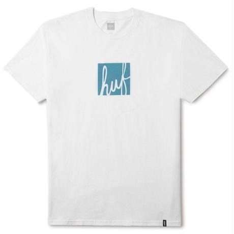 HUF ハフ 半袖Tシャツ SCRIPT BOX LOGO S/S TEE TS00479 メンズ トップス WHITE /HUF128