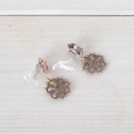 《再販》fresh flower (ダークブラウン)ピアス/イヤリング