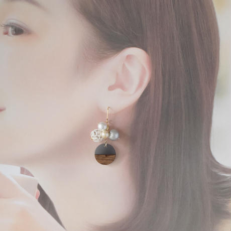 bubble(wood grey)ピアス/イヤリング