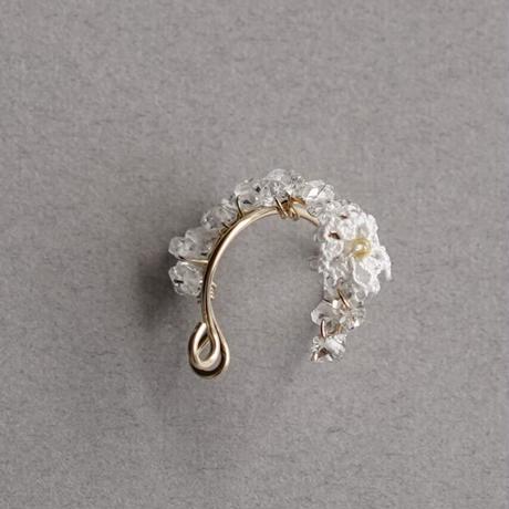 天然石ハーキマーダイヤモンド 14kgf クロスイヤーカフ