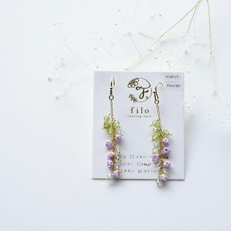 ペリドット.グリーンアメジストの藤の花 ピアス/イヤリング