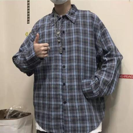 Check long-sleeved shirt
