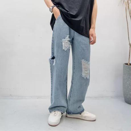 Damage denim wide pants