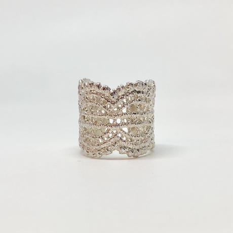 lace double wave ring (silver)---036