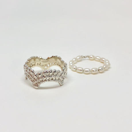 lace wave ring / pearl (silver)---033