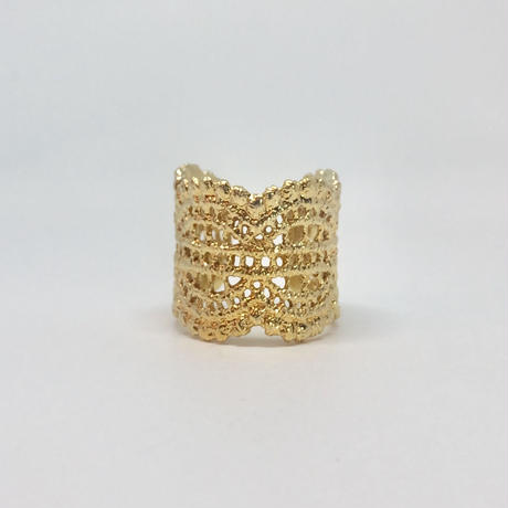 lace double wave ring (gold)---036