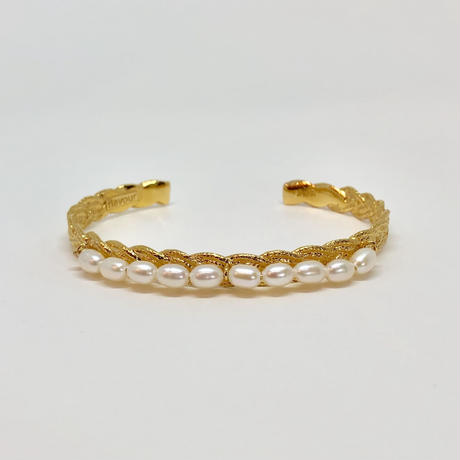 lace braid / pearl bangle (gold)---029v