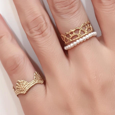 Lace arabesque ring /pearl (gold)---209