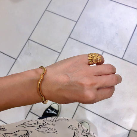 lace feather ring (gold)---103