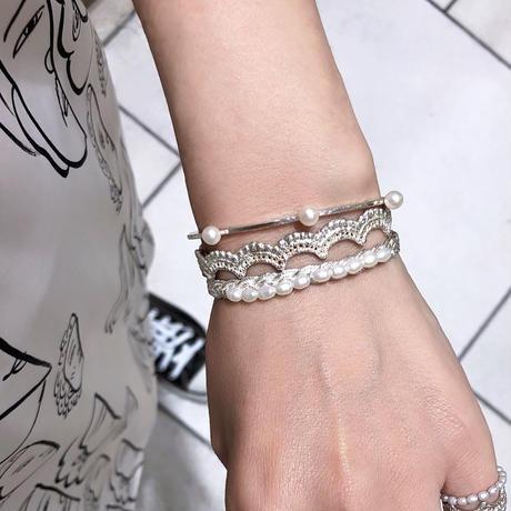 lace braid / pearl bangle (silver)---029v