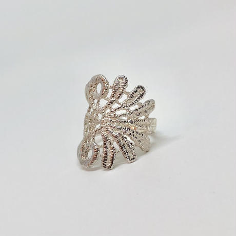 lace feather ring (silver)---103