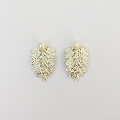 lace leaf pierces /pearl (silver)---213