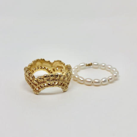 lace wave ring / pearl (gold)---033