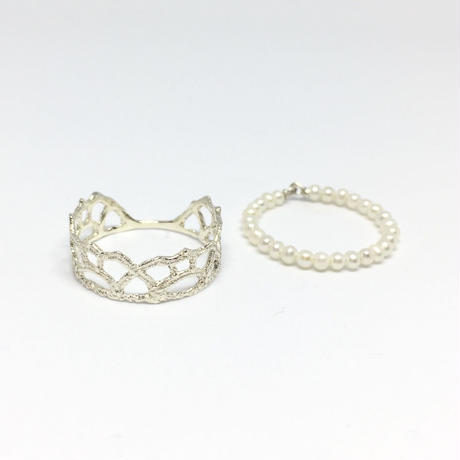 lace arabesque ring /pearl (silver)---209