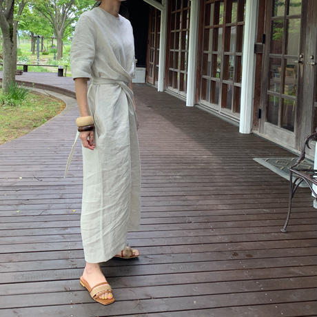 waist ribbon linen one-piece (3color)[OP21SS705]