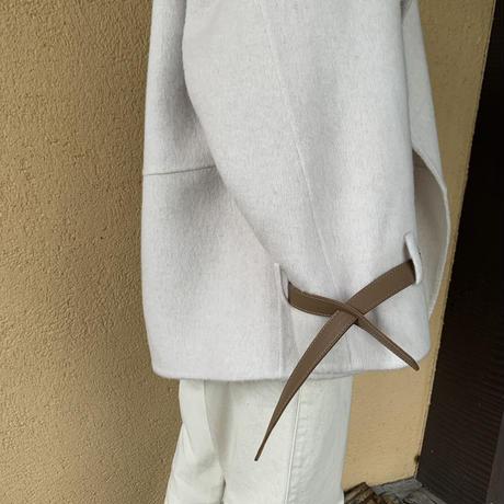 handmade belt sleeve short coat (2color)[OU20AW521]